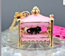 Betsey Johnson BLACK CAT PRINCESS BED PRETTY IN PINK Crystal Gold GIFT BOX & BAG