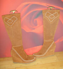 SUPERB NEXT BROWN LEATHER SUEDE WEDGE  BOOTS  EU 40 UK 6.5 BOHO *21*