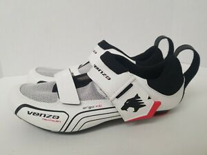Venzo Triathalon Cycling Shoes 8M White Black Ergo Fit