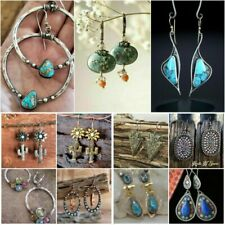 Trendy 925 Silver Turquoise Women Jewelry Gift Dangle Drop Earrings Journey Gift