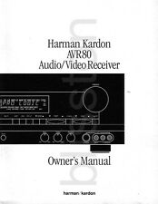 Harman Kardon AVR80 AVR 80 Receiver Amp Owner's Manual