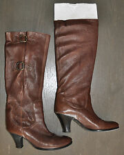 VERO CUOIO WOMENS LEATHER BOOTS BROWN MADE IN ITALY SIZE-36.5