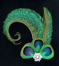 Catherine Curl PEACOCK EYE Feather Diamante Hair Clip Bridesmaids Flapper 1920s