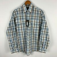 Bisley Mens Button Up Shirt Small 90cm Plaid Long Sleeve Collared