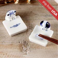 Lot 2pcs Cat Dog Japan Zakka Ceramic Chopstick Rest Holder hashioki gift Kawaii