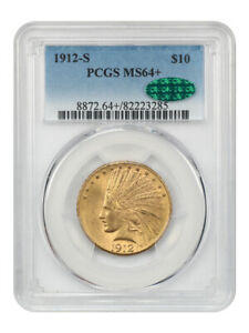 1912-S $10 PCGS/CAC MS64+ - Scarce S-Mint Indian Eagle