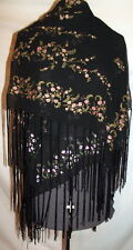 """Black scarf with hundreds of tiny pink flowers glitter centers fringe  44"""" x 42"""""""