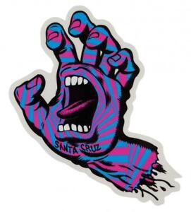 "SANTA CRUZ Screaming Hand Sticker / Skateboard Snowboard Surf - 6"" tall PARTY"