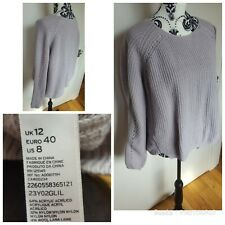 Topshop Slouch Oversized Low Back Long Sleeve Jumper Size 12 Bloggers RARE