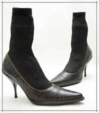 MIU MIU Stretch-knit Sock Ankle Boots with Cracked Leather Made in Italy EU 38