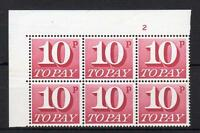 10p FCP/PVA POSTAGE DUE UNMOUNTED MINT CYLINDER BLOCK Cat £600