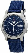 Seiko Men's Seiko 5 Automatic Stainless Steel Blue Canvas Strap Watch SNK807