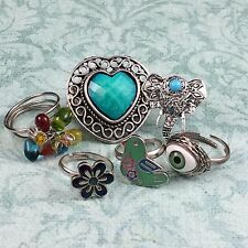 6 Adjustable Metal Rings Evil Eye Elephant Bird Flower Boho Costume Mixed Lot