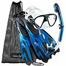 Phantom Aquatics Navigator Mask Fin Snorkel Set Artic Blue NEW Small to Medium