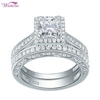 Halo Princess Cz 925 Sterling Silver Wedding Engagement Ring Set For Women 5-12