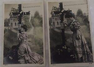 * Série de 2 cartes postales fantaisie - Prière au pied de la croix
