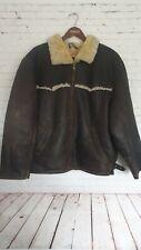 VTG Pilot Aviator Bomber Flying Leather Sheepskin Jacket Men's Brown Size XL