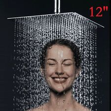 "Large 12"" Chrome Ultra-thin Square Stainless Steel Rainfall Overhead Shower Head"