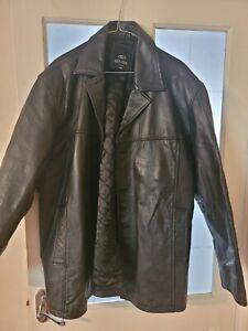 Mens used black leather jacket xxl