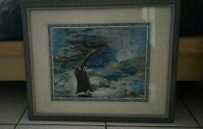 Tableau mer gouache queue baleine encadre bleu