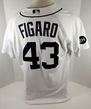 2010 Detroit Tigers Alfredo Figaro #43 Game Used White Jersey Harwell Patch