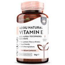 Vitamin E 400IU 100% Natural - 90 Vegan Capsules - Skincare Antioxidant Immunity