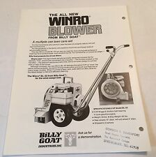 BILLY GOAT Winro Blower & KD-50SP Sweeper Original 1970s Vintage Sales Brochure