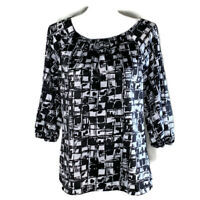 Ann Taylor Womens Top Black White 3/4 Sleeve Scoop Neck Work Blouse Size Small