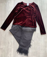 Laura Ashley Vintage Velvet Burgundy Top Size XL Red Long Sleeve 90s Fashion