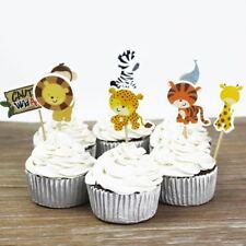 24PCS Kids Party Favors Cupcake Toppers Picks Safari Jungle Animal Cake Decor