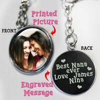 Personalised Keyring Photo Printed//Engraved Keepsakes round keychain X/'mas Gift