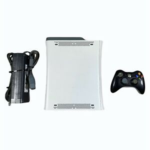 Microsoft Xbox 360 60GB HDD White Console System With Power Supply Tested Works
