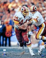 Joe Theismann John Riggins Dual Autographed 16X20 Photo Redskins Hand Off JSA