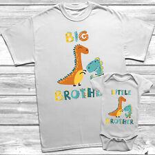 Dinosaur Big Brother Little Brother T-Shirt Themed Kids Baby Grow Set Oufit