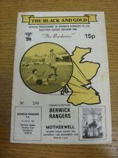 10/11/1979 BERWICK RANGERS V, Motherwell (piegato, lievi contrassegnato bobfrankandel).