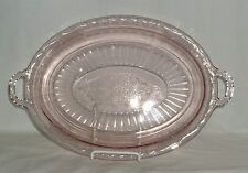 "Anchor Hocking MAYFAIR/OPEN ROSE PINK *12"" HANDLED OVAL PLATTER* #2"