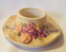Straw Hat Candle Holder Ceramic Floral Spring Mothers Day Gift Votive Tea Light