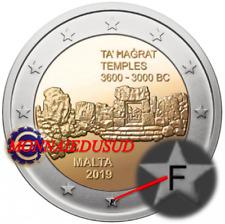2 Euro Commémorative Malte BU Temple 2019 avec Poinçon F de la MDP