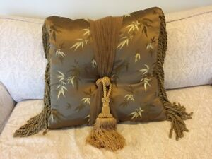 Decorative silk pillow, gold with tassel and fringe, perfect condition