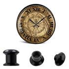 BLACK OLD WORLD CLOCK ACRYLIC HOLLOW STASH EAR PLUGS Piercing Stretchers PL71