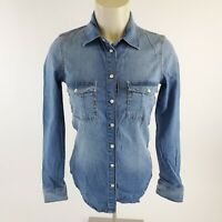 Zara Denim Chambray Long Sleeve Pearl Snap Front Shirt Womens Size XS Western