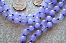 Purple Jade Hand Knotted Meditation Yoga Mala Beads Necklace - Healing & Protect