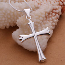 "925Sterling Silver Smooth Large Cross Men Women Pendant Necklace 18"" NY290"