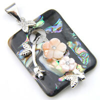 Rectangle Genuine Handmade Abalone Shell Carved Shell Silver Necklace Pendants