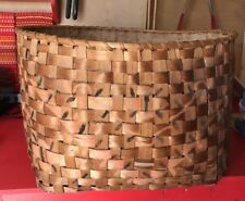 """22"""" Early 19th C New York State Native American Potato Stamped Basket,Woodland"""