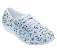 LADIES WHITE FLORAL LACE-UP LOW WEDGE CANVAS COMFY PUMPS CASUAL SUMMER SHOES