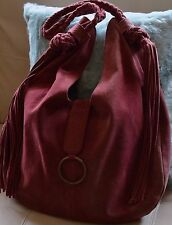FREE PEOPLE Tassels Burgundy Red Suede Large Hobo Tote Handbag