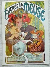 """vntg poster reprint 1975 Alphonse Mucha 9""""x15"""" Art Nouveau 'Bieres de la Meuse'"""