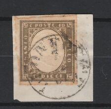 FRANCOBOLLI 1861 SARDEGNA C:10 GRIGIO OLIVASTRO SCURO Z/5905