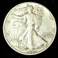 1939 Walking Liberty Half Dollar , Very Fine or Better , 90% Silver US Coin